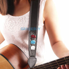 Electric Acoustic Guitar Bass Strap Adjustable Nylon Strap & 3 Picks Pick Holder