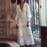 2020 Womens  Designer Inspired Luxury Embroidery Tiered Ruffle Maxi Dress