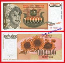 YUGOSLAVIA 100000 Dinara 1993 Pick 118 SC / UNC