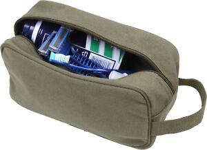 Tactical Travel Toiletry Bag Zipper Canvas Case Compact Organizer Portable Dopp