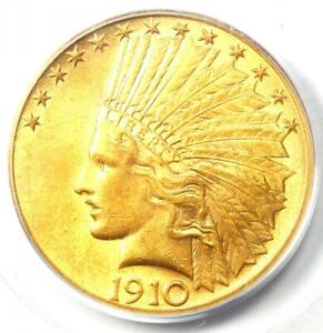 1910 Indian Gold Eagle $10 - Certified PCGS MS62 (BU UNC) - Rare Coin!