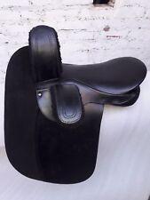 """21"""" black leather English side saddle"""