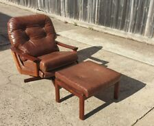 Retro Tessa T21 Swivel Arm Chair Recovered In Leather
