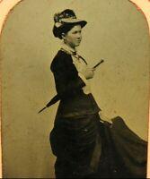 1870's Tintype Photograph Woman Holding Umbrella Period Fashion