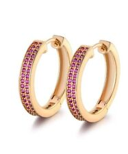 YELLOW GOLD FINISHED PINK SAPPHIRE ROUND LADIES CHIQUE HOOP EARRINGS GIFT BOXED