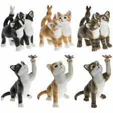 Playful Affectionate Black White Ginger Brown Cat Ornament Kitten Figurine 12cm