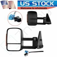 For 03-07 Chevy GMC Side Mirror Power Heated Led Turn Signal Towing Mirrors Pair