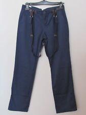 Benetton - pantalone casual donna blu taglia 42 con bretelle. Salopette Benetton