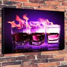 """BICCHIERI DA WHISKY a fuoco Scatola stampata foto su tela A1.30""""x20"""" 30mm Deep Wall Art"""