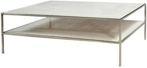 """48"""" L Coffee Table Steel Square Tube Frame Inset Solid Marble Top Nickel Finish"""
