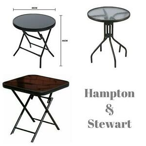 Black Folding Square/Round Side Table Steel Outdoor Patio Rattan Glass Drinks