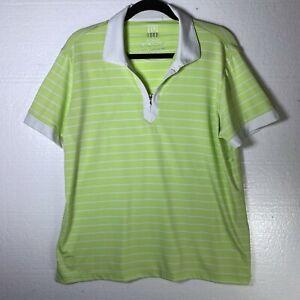 Kate Lord Women's Size XL Green Striped Golf Polo Shirt Athletic Tennis Half Zip