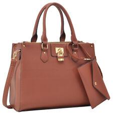 New Dasein Womens Handbags Leather Satchels Tote Bags Padlock Purse w/ Wallet