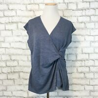 Max Studio Women's Gray Blue Short Sleeve Ruched Draped Shirt Size Small