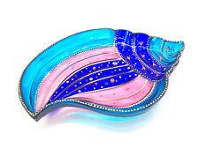 Hand Painted Glass Plate Jewelry bowl Seashell Dessert Dish Wedding Theme Party