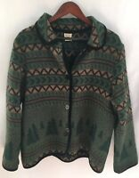 Vtg Women's Large Jacket Wool Blend Southwest Holiday Button MADE IN USA