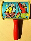 Vintage (T. CONN) Made in USA CLOWNS w/ PARTY DOG & DUCK Tin RATTLE NOISE MAKER