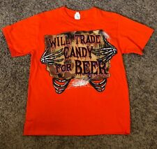 "NWT Men's Halloween Orange ""I Will Trade Candy For Beer"" T-Shirt-Size-Med"