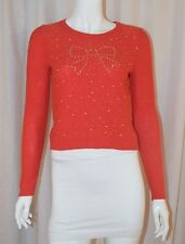ANTHROPOLOGIE PINS & NEEDLES Orange Gold Bow Studded Angora Sweater Top Small