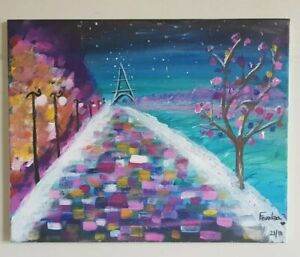 Colorful Acrylic(?)Painting on Stretched Canvas Paris Scene Kids Bedroom Decor