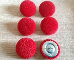 Rouge Pimlico Chenille Velvet 45L/28mm Upholstery Loop Back Buttons Red