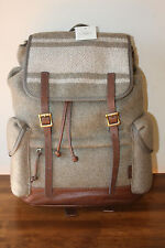 NWT Fossil Defender Wool /Leather Rucksack Backpack Olive Green  FREE SHIP!!