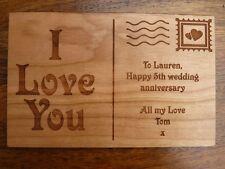 Personalised Wooden Postcard greeting card - Wedding Anniversary / Birthday