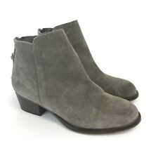 Office Size 37 US6 UK4 Taupe Leather Suede Ankle Zip Up Heeled Booties Boots