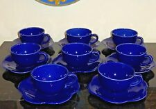 MARYSE BOXER SET OF 8 COBALT BLUE CUPS AND SAUCERS MADE IN ENGLAND