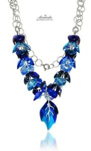 NEW FABULOUS ORIGINAL CRYSTALS NECKLACE *BLUE NAWI * STERLING SILVER 925