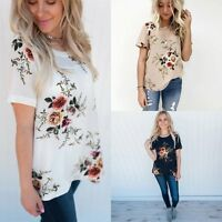 Fashion Womens Lady Summer Short Sleeve Casual Blouse Loose Chiffon Tops T Shirt