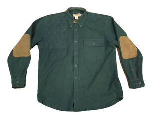 Cabelas Men's Heavy Cotton Right Handed Shooting Shirt Patched Elbows Size L