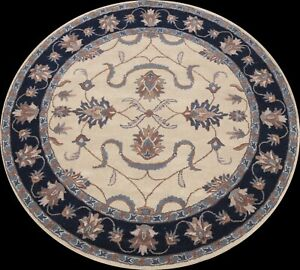 Floral Traditional IVORY Oriental Area Rug Hand-tufted Wool Carpet 8'x8' Round