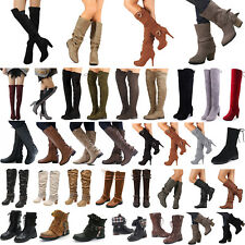 Womens Ladies High Over The Knee Mid Calf Ankle Slim Heel Boots Flat Shoes Size