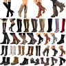 Womens Ladies Vintage Over The Knee High Riding Boots Mid Calf Ankle Heel Shoes