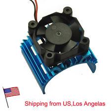 5V Cooling Fan + Aluminum Heat Sink for 1/10 RC Car 540 550 3650 Motor Blue -US