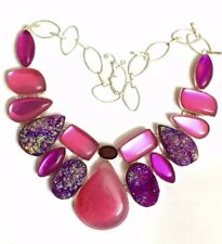 """Pink Pinker & More Pink Bold & Beautiful Silver  Statement 16"""" Necklace"""