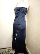 Pinko unusual slinky blue shiny dress zips 8 10 asymmetric hem straps party club