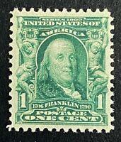 US Stamps, Scott #300 1903 1c Franklin XF M/NH. Beautiful centering. Fresh