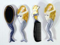 Hand Painted Art Hair Brush Mirror Comb Purple Mermaid Design (Set of 3) C044M