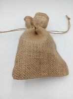 "Lot 5 Burlap Jute Sacks Bag 5.5 X 7.5""With Drawstrings Gunny Feed Tow Gift Bag"