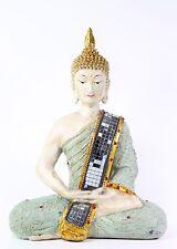 "FengShui 11"" Green Kasaya Mirror Baldric Thailand Buddha Dhyani Mudra Home Decor"