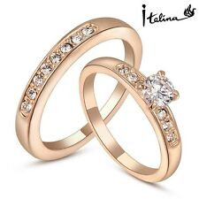 18K Rose Gold Plated Austria Crystal Ring/Jewelry Rings/Double Ring/Lovers Rings