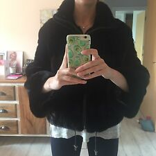 Real Mink Fur Coat Saga Size S-M, Black-Dark Brown