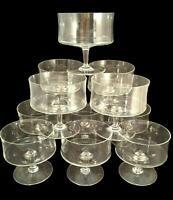 Set 12 Vintage Mid Century Modern Low Champagne COUPES Sherbet Elegant Barware