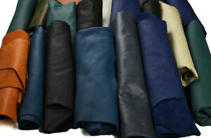 Luxurious full-grain leather scraps - HUGE Upholstery Remnants   ASSORTED COLOUR