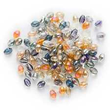 50pcs Plating Oval Faceted Crystal Glass loose spacer Beads Jewelry Making 6mm