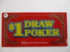 Video Poker Belly Glass ($1 Draw Poker)