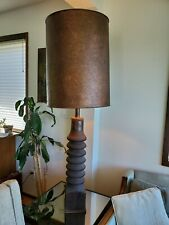 Rare Tall Brutalist Solid Wood & Copper Mid-Century Laurel Table Lamp MCM Table