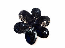 LADIES BLACK SEQUINS SPARKLING FLOWER BROOCH PIN LARGE 10 CM DIAMETER (B2)